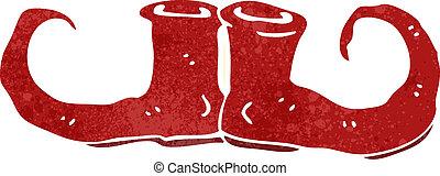 retro cartoon christmas elf shoes - Retro cartoon...
