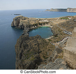 St Pauls Bay at Lindos on the Island of Rhodes Greece -...