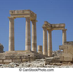 Ancient Acropolis in Rhodes. Lindos city. Greece - Columns...