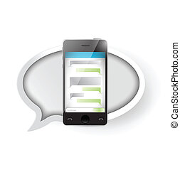 text message communication on a smartphone. illustration...