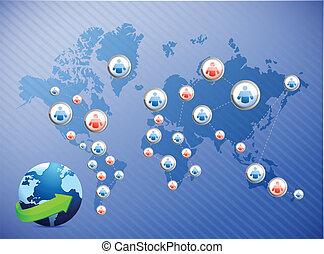 international social media network. illustration