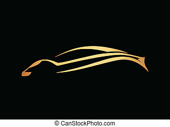 Golden sport auto over black - Golden logo of sport auto...