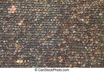 Old brown tile roof background, great for texture