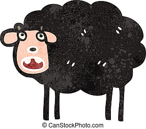 retro cartoon black sheep