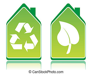 Green ecology houses illustration