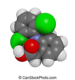 Diclofenac, dolor, inflamación, droga, (NSAID), químico,...