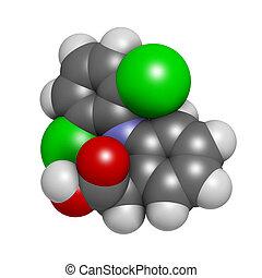 (nsaid), dolor, droga, químico, diclofenac, structur,...