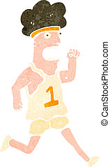 retro cartoon marathon runner - Retro cartoon illustration...