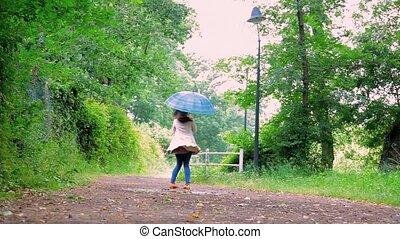 Woman dancing with umbrella