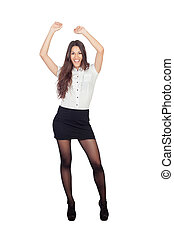 Pretty businesswoman in a stylish miniskirt isolated on...