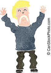 retro cartoon terrified man