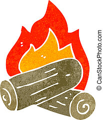 retro cartoon burning logs - Retro cartoon illustration On...