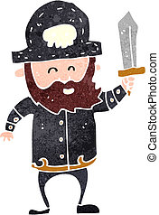 retro cartoon pirate captain - Retro cartoon illustration On...