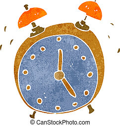 retro cartoon alarm clock - Retro cartoon illustration On...