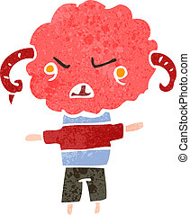 retro cartoon angry little cloud creature - Retro cartoon...