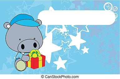 hippo  baby cartoon gift box wallpa