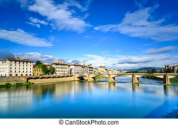 Ponte alle Grazie bridge on Arno river, sunset landscape....