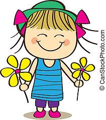 Cute little Girl Holding Flower