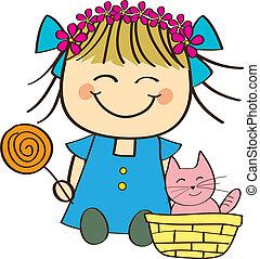 Cute little Girl  - Cute little girl holding candy