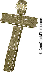 retro cartoon wooden cross