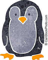 retro cartoon penguin - Retro cartoon illustration On plain...