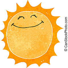 retro cartoon happy sun - Retro cartoon illustration. On...