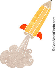 retro cartoon pencil rocket - Retro cartoon illustration. On...