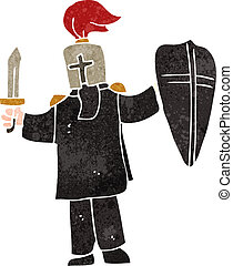 retro cartoon medieval black knight - Retro cartoon...