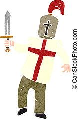 retro cartoon medieval knight - Retro cartoon illustration....