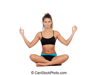 Beautiful woman doing relaxation exercises