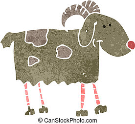 retro cartoon goat - Retro cartoon illustration. On plain...