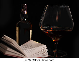 Still Life. - Still Life With Bottle, Glass And Open Book.