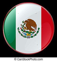 Flag Button Mexico