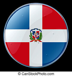 Dominican Republic Flag Button - Dominican Republic Flag,...
