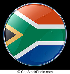 South Africa Flag Button, isolated on black background.