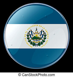 El Salvador Flag Button, isolated on black background.