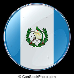 Guatemala Flag Button, isolated on black background.