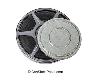 Film Reel and Can Isolated - Film can and reel isolated with...