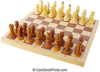 Chess - Wooden antique chess on the white background