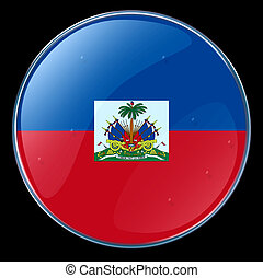 Haiti Flag Button, isolated on black background.