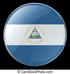 Nicaragua Flag Button, isolated on black background