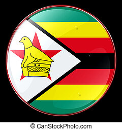 Zimbabwe Flag Button, isolated on black background