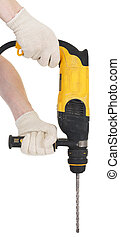 Perforator - Yellow perforator in hands on a white...