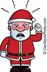 Santa Claus being angry and waving his fist.