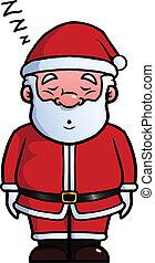 Santa Claus sleeping and snoring