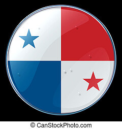 Panama Flag Button, isolated on black background
