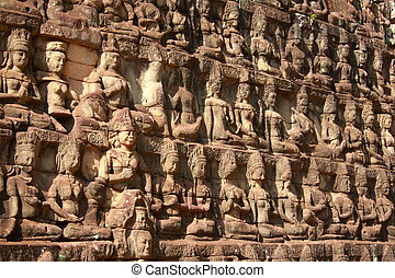 King terrace in Angkor Thom - Wall stone of King terrace in...