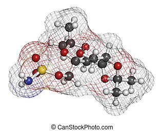Topiramate epilepsy and weight loss drug, chemical structure...