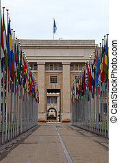 The United Nations,Geneva, Switzerland. - Flags in front of...
