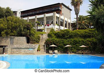Summer mediterranean resort with swimming pool(Halkidiki,...
